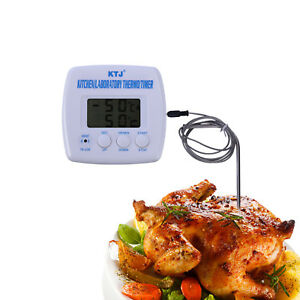 Digital-Probe-LCD-Thermometer-Temperature-Cooking-BBQ-Meat-Poultry-Food-White