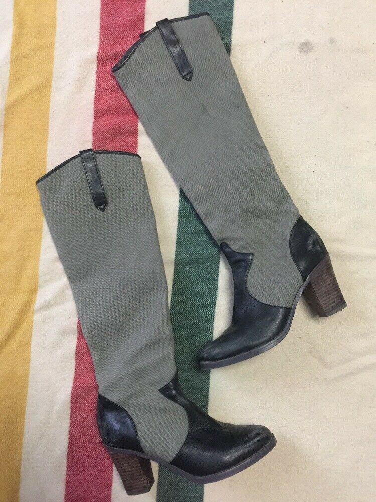 Free People Faryl Robin Maven Olive Black Canvas Leather Boots Size 8