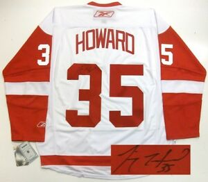 hot sale online 06c77 b746a Details about JIMMY HOWARD SIGNED 08 CUP DETROIT RED WINGS RBK JERSEY