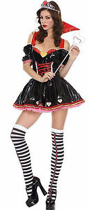 Red-Queen-of-Hearts-PVC-Fancy-Dress-Costume-Stockings-S-M-L-XL-8-10-12-14-16