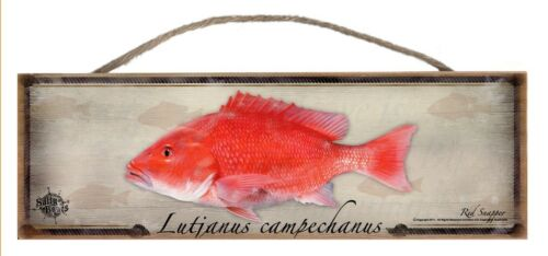 Red Snapper Rustic Wall Sign Plaque Gifts Men Fishing Fishermen Outdoors