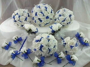 Royal blue and white wedding bouquet flowers package ebay image is loading royal blue and white wedding bouquet flowers package mightylinksfo