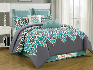 8P-Damask-French-Lily-fleur-de-lis-Comforter-Set-Silver-Gray-Blue-Turquoise-King