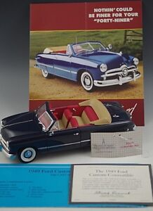 FRANKLIN-MINT-1949-FORD-CUSTOM-CONVERTIBLE-DIE-CAST-1-24-SCALE-MINT-CONDITION