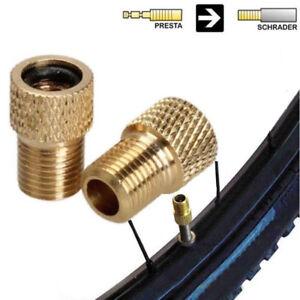 2 x Brass Adaptor Presta To Schrader Bicycle Valve Converter Bike Pump Connector