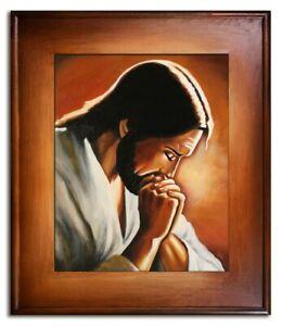 Religion-Jesus-Christus-Handarbeit-Olbild-Bild-Olbilder-Rahmen-Bilder-G95024