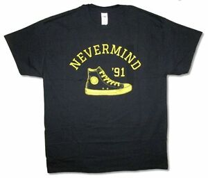 67f11180997 Image is loading Nirvana-Converse-Sneaker-Nevermind-1991-Black-T-Shirt-