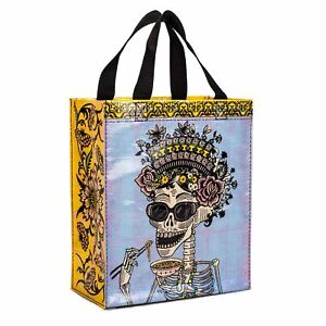 Blue-Q-Day-Of-The-Dead-Sugar-Skull-Blue-amp-Yellow-Tote-Shopping-Bag-25cm