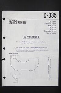 Sony D 335 Original Discman Service Manual Wiring Diagram Diagram Supplement 1 Ebay