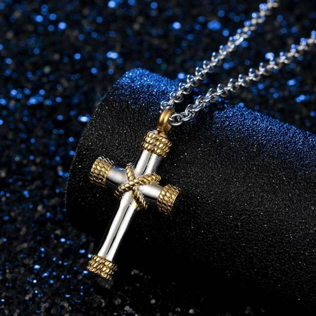 Unisex Cross Pendant Necklace Chain Ashes Urn Holder Cremation Memorial Jewelry