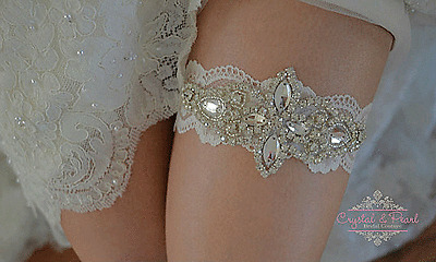 Paige Vintage Luxury Crystal Wedding Garter Ivory Lace Bride Rhinestone Diamond