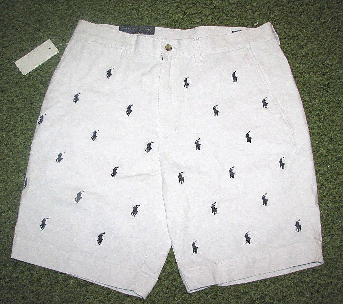 Men's POLO-RALPH LAUREN White PONY Shorts FLAT FRONT  PROSPECT