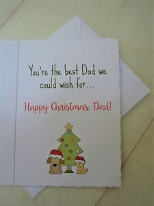 Dad from the Dog Card Personalised Handmade Merry Christmas to the Best Mam