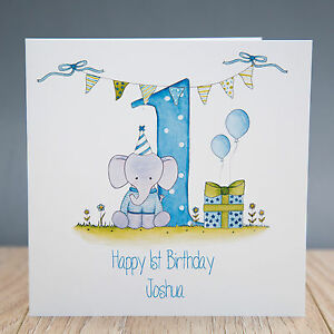 Image Is Loading Handmade Personalised Boys 1st Birthday Card First