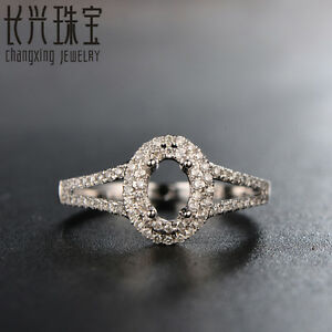 4x6mm Oval 14k White Gold Pave .32ct Diamond Semi Mount Ring Free Shipping