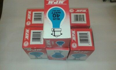 6x MPM MULTICOLOURED MIX of Old Style 40W B22 BC 240V GLS Light Bulb Lamp JobLot