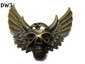 steampunk badge brooch bronze skull cog gearwheel wings gothic cyberpunk #DW18
