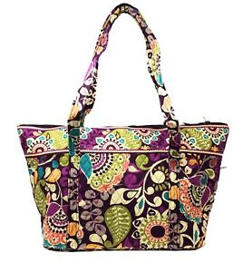 Details About Vera Bradley Miller Bag In Plum Crazy With Solid Interior Nwt Defects