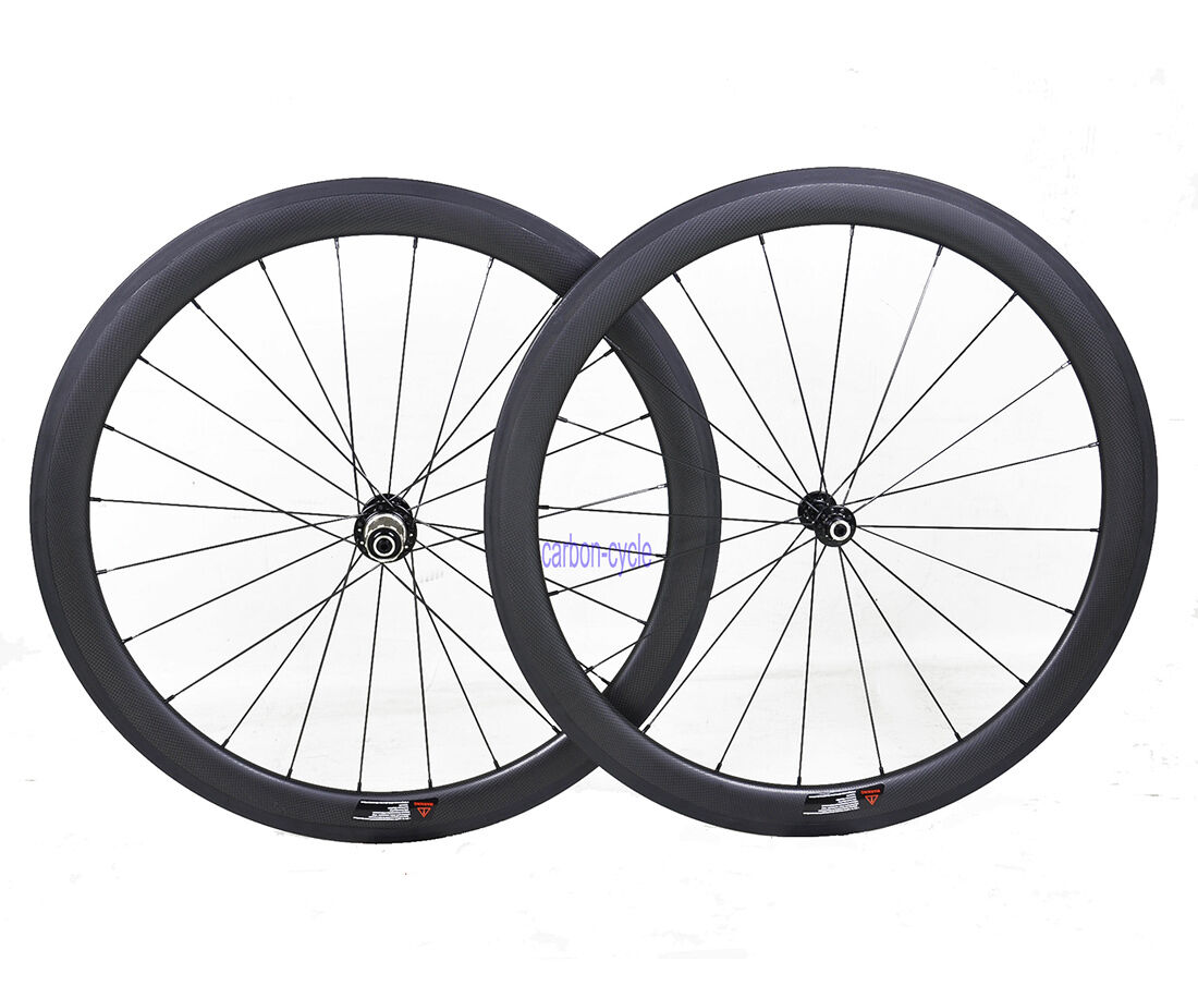 50mm Clincher Tubeless Carbon Wheel set 23mm Road Bike 700C 3k Matt Rim Powerway