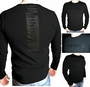 EMPORIO-ARMANI-Men-039-s-Longsleeve-cotton-T-shirt-in-Black-05-Size-M-L-XL