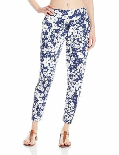Anne Cole Summer Floral Tapered Leg Front Pocket Cover Up Pants Sz M NWT K19