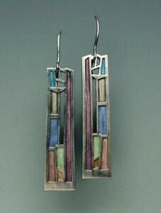 Multi-Color-Gemstone-Woman-925-Silver-Ear-Hook-Drop-Dangle-Party-Gift-Earrings