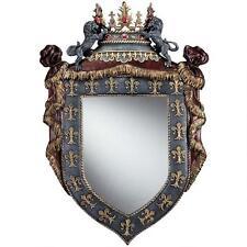 Medieval Majestic Regal Crown Fleur de lis Shield Mirror Gothic Wall Sculpture