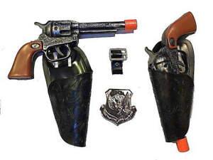 Kids Cowboy Western 2 Clicker Gun Holster Set w/ Belt & big badge (ant)