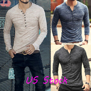 US-Mens-Cotton-Muscle-T-Shirt-Slim-Fit-Tee-Long-Sleeve-V-Neck-Tops-Casual-Blouse