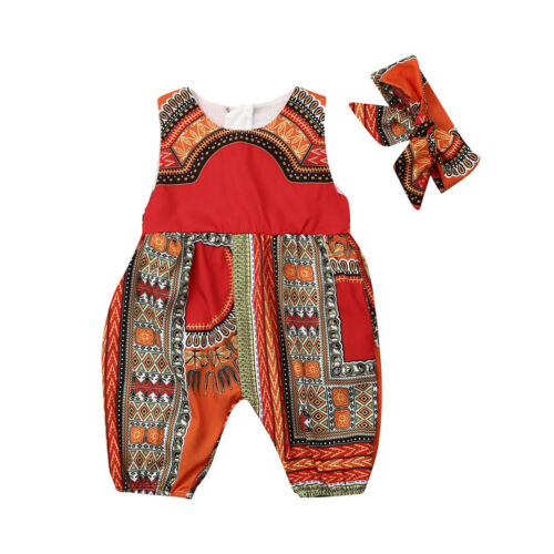 US Stock Infant Baby Girls Kids African Jumpsuit Clothes Toddler Playsuit Outfit
