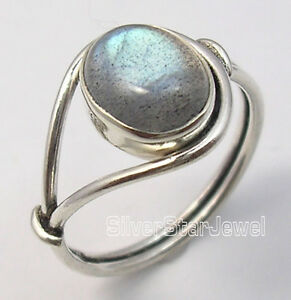 925-Sterling-Silver-OVAL-BLUE-FIRE-LABRADORITE-BESTSELLER-Ring-Any-Size-HANDMADE