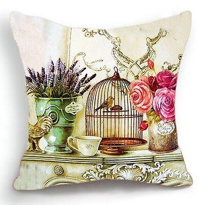 Retro Vintage Bird Cage Flower Lavander Home Pillow Case Cushion Cover 18''