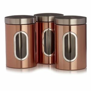 Image is loading Copper-Tea-Coffee-Sugar-Canisters-Storage-Jar-Set-  sc 1 st  eBay & Copper Tea Coffee Sugar Canisters Storage Jar Set 3 | eBay