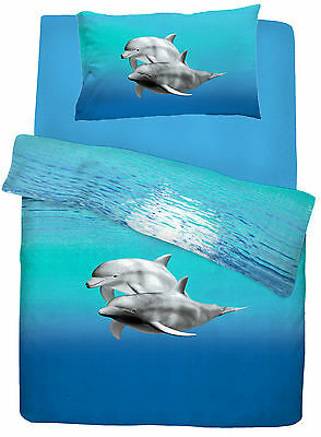Duvet Cover with Pillowcase Quilt Cover Bedding Set Dolphin Blue Single Double