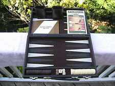 "Vintage Travel Backgammon Game In Faux Leather Case 15 1/8"" X 10"" X 2 1/4"""