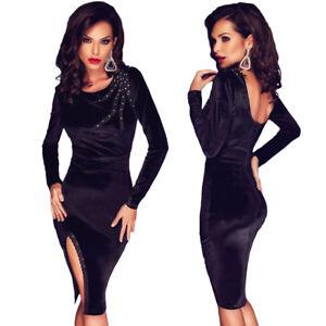b9f466b0df3f Caricamento dell immagine in corso Vestito-da-sera-nero-donna-abito -elegante-manica-