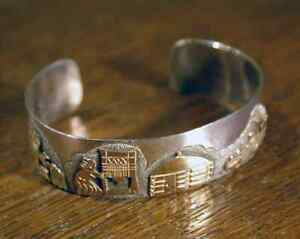 Image Is Loading Native American Navajo Sterling Silver Cuff Bracelet Storyteller