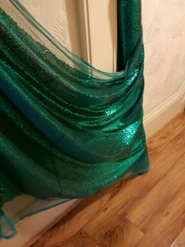 """1M  green TULLE  fully small sequins dress   DISCO FABRIC 58/"""" WIDE"""