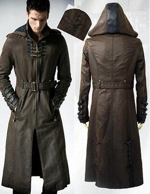 EN STOCK Manteau capuche gothique steampunk cuir sangles bronze Punkrave homme