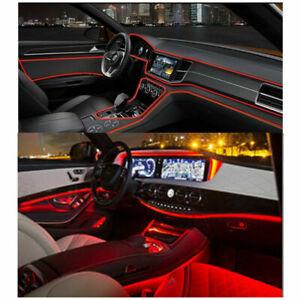 LED-rojo-fibra-optica-interior-ambiente-Lampara-de-Luz-de-puerta-de-coche-decoracion-de-Consola