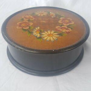 ROUND-Scatola-in-legno-con-dipinto-floreale-in-lacca-nera-ucraino-034-petrykivka-034