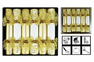 Christmas-Crackers-Handmade-Box-of-6-Gold-Lace-Glitter-Textured-Detail-Xmas