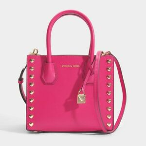 f107952c6f7e Image is loading Michael-Michael-Kors-Mercer-Medium-Studded-Hearts -Crossbody-