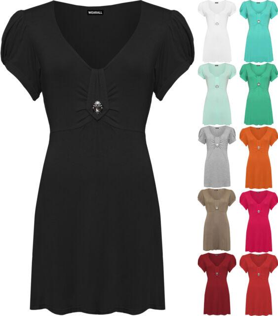 Damenshirt Übergröße V-Ausschnitt Kurzarm Mit Knopf Design Party Top 40-58