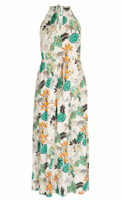 City Chic White floral tropical summer beach MAXI Party DRESS L 20 + drawstring