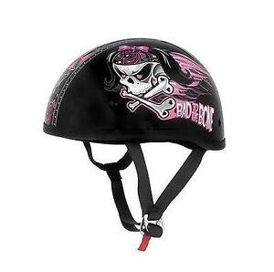 Skid-Lid-Lethal-Threat-Designs-Womens-Bad-To-The-Bone-Half-Helmet-DOT-Certified