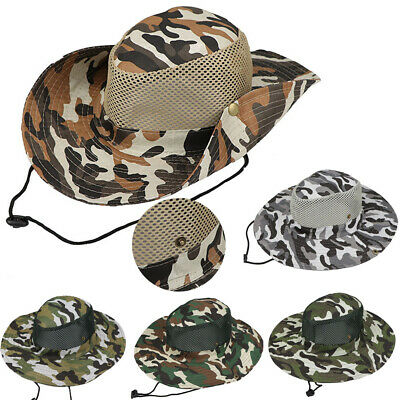 Army Camouflage Bucket Fisherman Fishing Camping Camo Wide Brim Cap Hat Summer