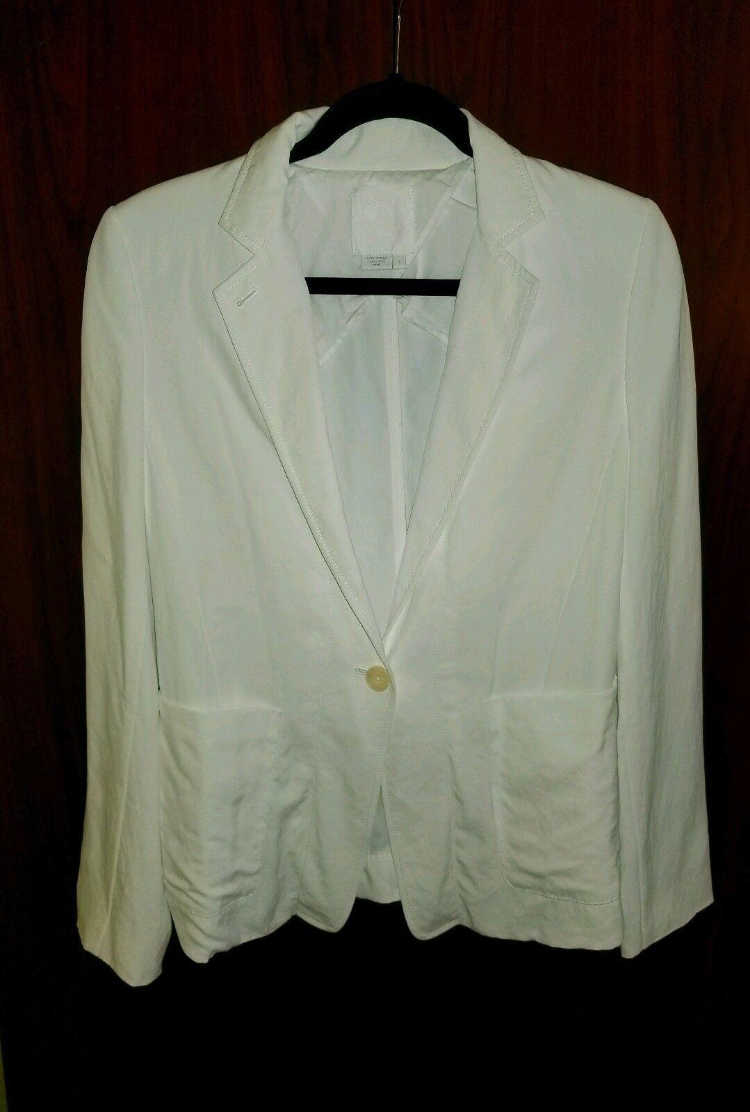 Pure DKNY Womens  White One-Button Blazer