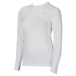 55a434b37740 Nike Pro Long Sleeve White Crew Tight Womens Training T-Shirt 219346 ...