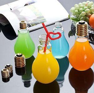 300ML-Plastico-Botellas-Copa-de-Agua-Transparente-Regalo-Bulb-Botella-Jarro